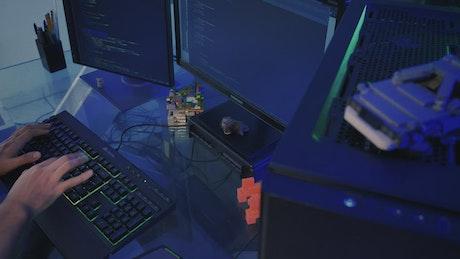 Software developer working on a computer