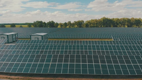 Solar panel energy farm in the countryside