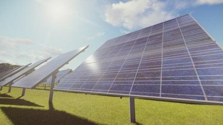 Solar panels in a garden, 3D render
