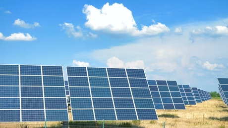 Solar panels under the beautiful sky