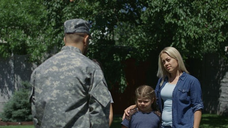 Soldier departure from the family