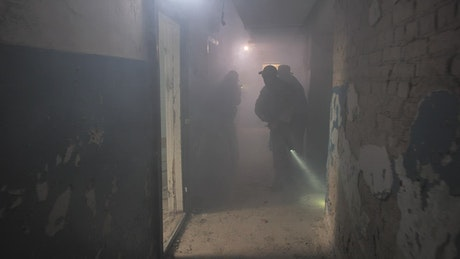 Soldiers clearing a room with a grenade