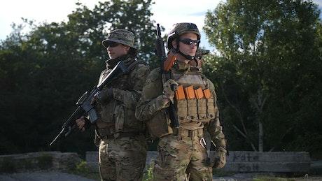 Soldiers standing still