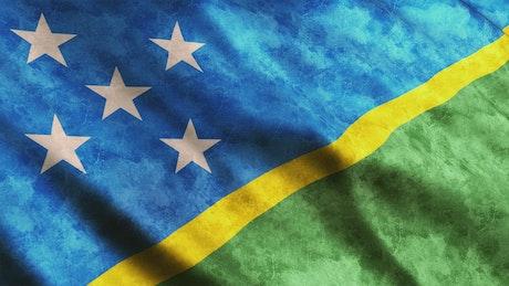 Solomon Islands flag waving