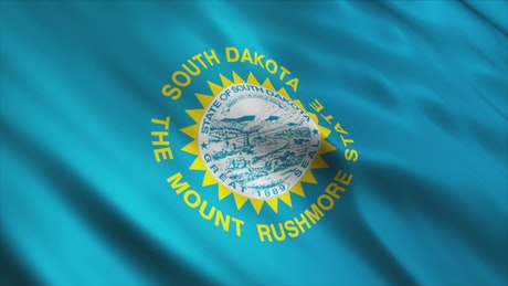 South Dakota flag in United States of America