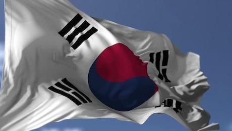 South Korean flag waving gently in wind