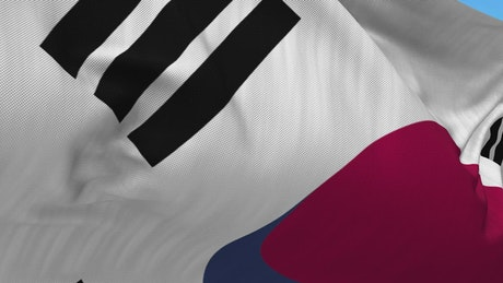 South Korean flag waving in slow motion zoom out