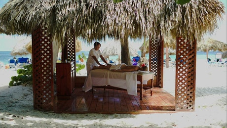 Spa treatment at a luxury beach resort