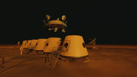 Space station on the surface of a distant planet
