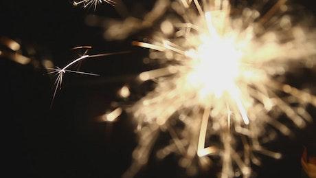 Sparkler burning brightly