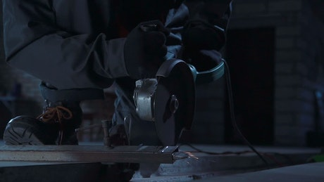 Sparks flying while cutting metal