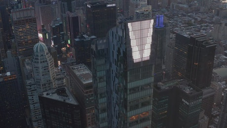Spectacular epic shot of skyscrapers in Manhattan