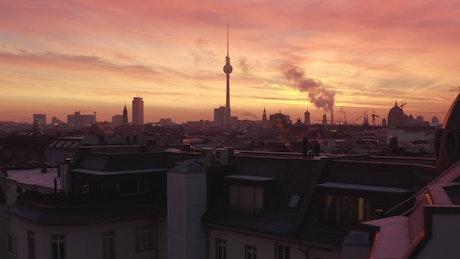 Spectacular skyline of a European city at sunset