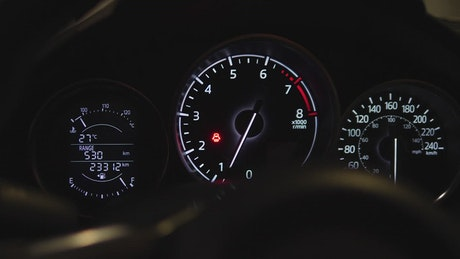Speedometer of an accelerating car