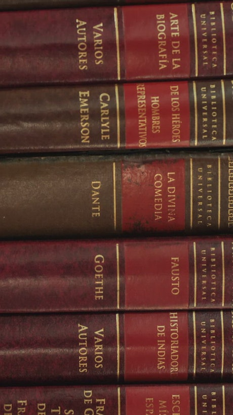 Spines of an encyclopedia of classic books