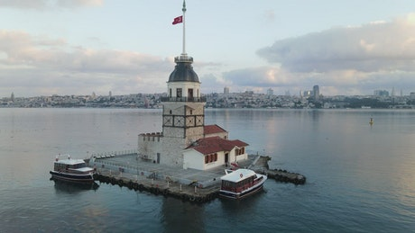 Spinning aerial shot of Maiden Tower