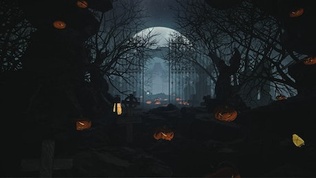 Spooky cemetery with trees and pumpkins, 3D