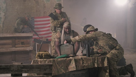Squad working from a bunker