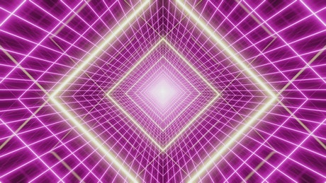 Square cyberpunk tunnel with purple lasers
