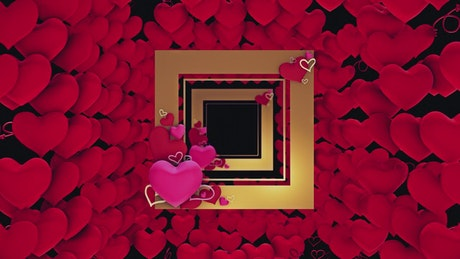 Square shaped frames and red hearts