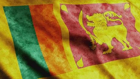 Sri Lanka 3D waving flag with faded texture
