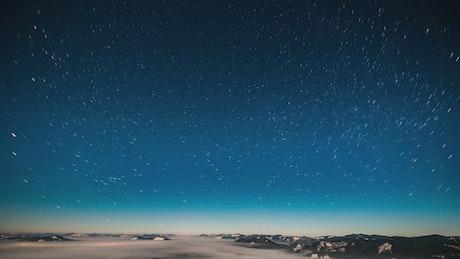 Starry blue sky, time-lapse