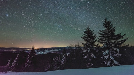 Starry sky during winter
