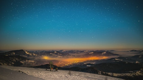 Starry Sky in the Carpathian Mountains