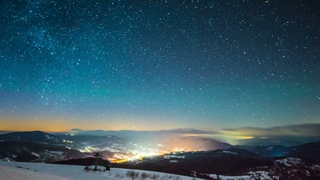 Starry sky of the milky way, time-lapse