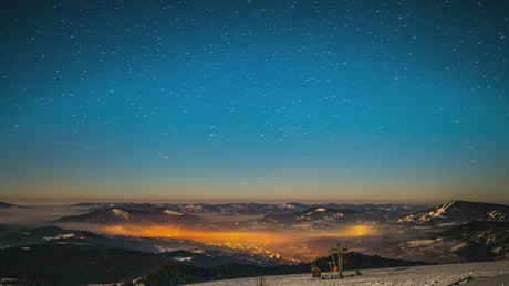 Starry sky seen from high mountains
