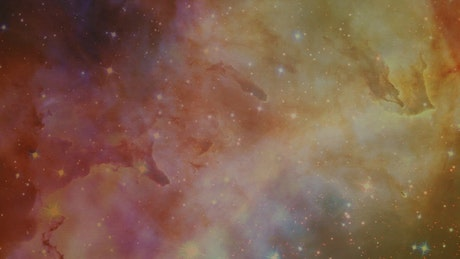 Stars, galaxies and nebulae under video of a liquid