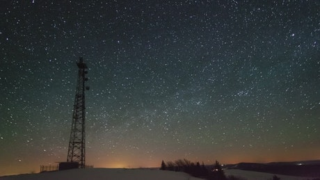 Stars over a communications tower