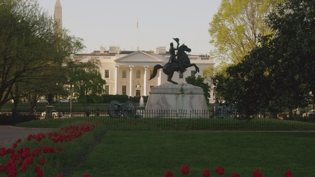 Statue and cannons outside the White House