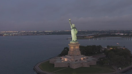 Statue of Liberty at night, aerial view