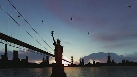 Statue of Liberty by the Brooklyn Bridge, 3D