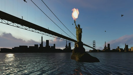 Statue of Liberty in 3D with fire in its torch