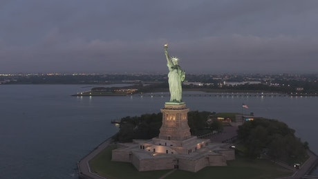 Statue of Liberty in USA, aerial view