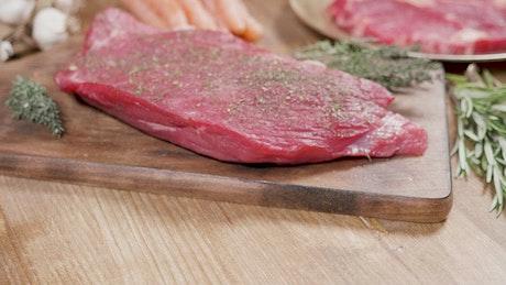 Steak on a chopping block