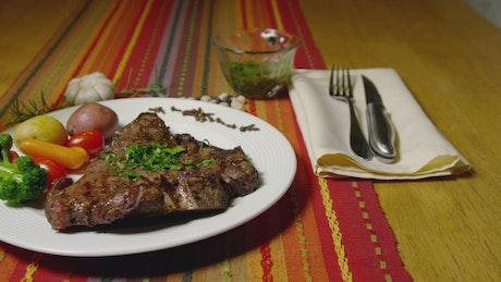 Steak served with vegetables