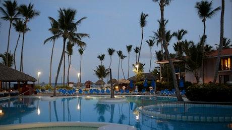 Still swimming pool water at night