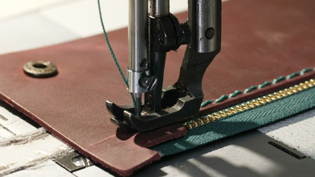 Stitching a wallet using a sewing machine