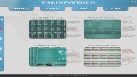 Stock market software screen animation mockup
