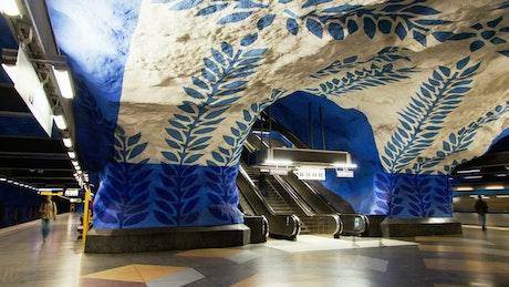 Stockholm escalators in metro station