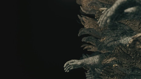 Stone sculpture hands in the dark