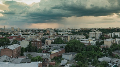 Storm over a town