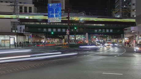 Street and railway station in fast motion