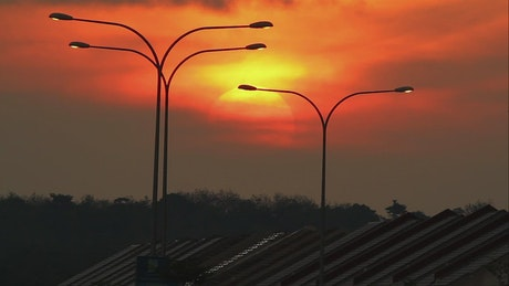 Street lights at sunset