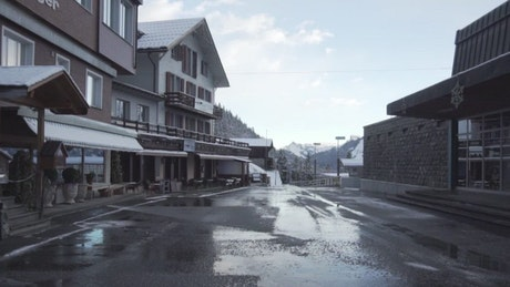 Street of a town in winter