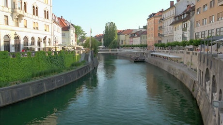 Streets and river in european city