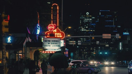 Streets of a big city at night